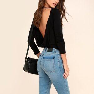 Lulus Hype-Worthy Black Backless Bodysuit